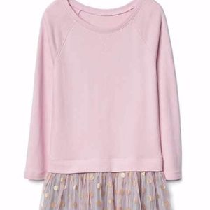 Gap girls pink and gray mixed sweater tulle dress